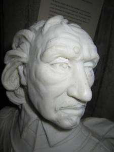 Bust of Cromwell from the Cromwell Museum, Huntingdon.